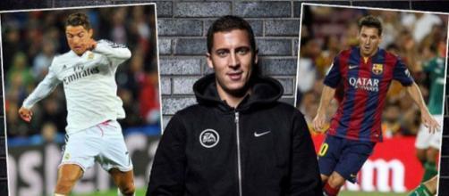 Eden Hazard entre Messi et Ronaldo, image de Senego.com