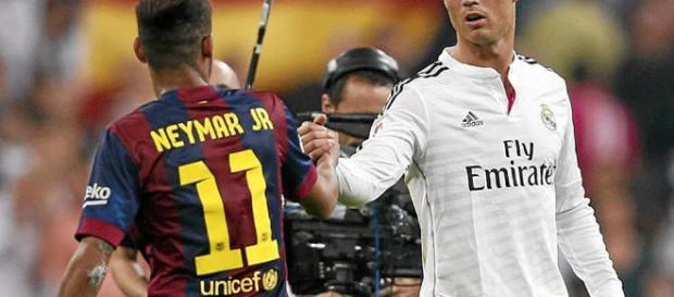 Neymar enfrentandose al Real Madrid