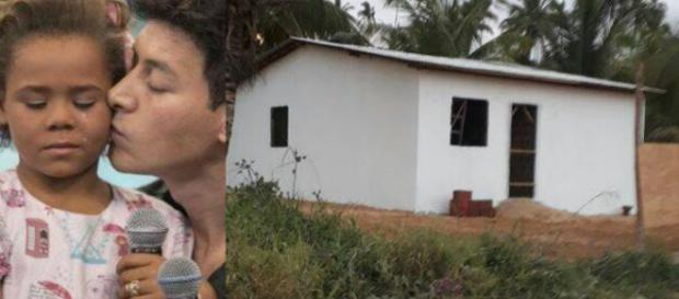 Casa de Rivânia sendo construída (Foto/Montagem)