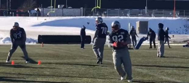 James Harrison (No. 92) practiced with the Patriots for the first time (Image Credit: MassLive/YouTube)
