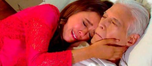 Fernanda, personagem de 'Um Caminho Para o Destino', chorando pela morte do avô