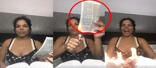 Day causa indignação ao queimar o Livro Sagrado (Foto: Captura de vídeo)
