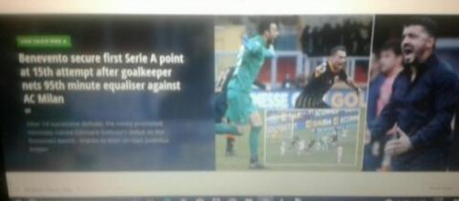 Il gol di Brignoli ripreso dalla stampa inglese