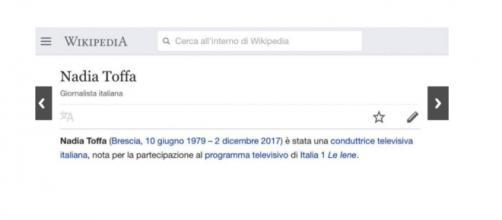 Wikipedia dice che Nadia Toffa è morta, poi si corregge