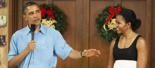 President Barack Obama and Michelle during a Christmas Day visit to Marine Base Hawaii in 2012. - [Image: Nathan Knapke, Wikimedia Commons]