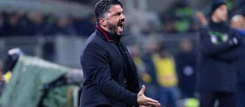 Gattuso urla alla squadra durante la partita