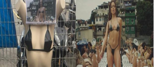 Biquíni de fita isolante foi popularizado por Erika Bronze, que tem uma laje de bronzeamento no Rio