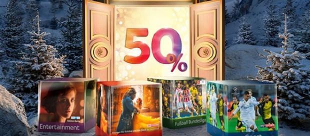 """50 % an Weihnachten gibt es bei Sky """"nur"""" auf die Pakete. Wer HD will, zahlt noch mal ordentlich drauf / Foto: Sky PR"""