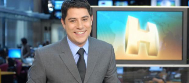 Evaristo Costa quando trabalhava na Globo