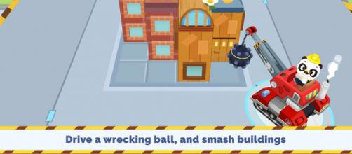 'Dr. Panda Trucks' has a construction theme where kids can both build and destroy buildings. (Image via Dr. Panda, used with permission.)