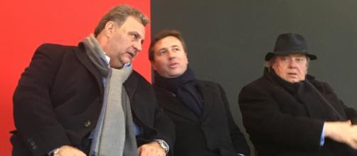 Franco Sannella con Raffaello e Pasquale Follieri in Tribuna Centralissima allo Zaccheria durante Foggia-Cittadella