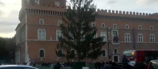 L'albero di Natale di Piazza Venezia, a Roma, al centro delle polemiche.