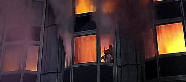 Am 25. Februar 1977 wurde das Hotel Rossija zum flammenden Inferno (Screenshot)