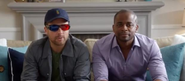 """James Roday and Dule Hill return in """"Psych the Movie."""" (Image via blogpsychbr Youtube screencap)."""