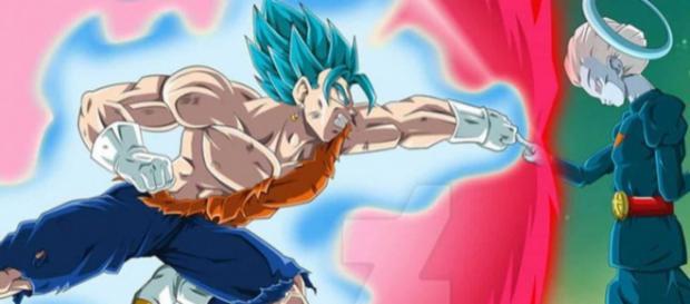 Vegetto SS Blue lucha contra Daishinkan Sama