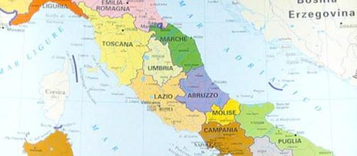 Le zone del Centro Italia che sono state interessate da eventi sismici dal 2016 al 2017