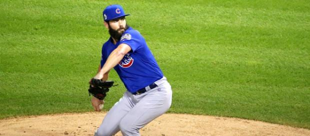 Jake Arrieta pitching with the Cubs - image - Wikimedia Commons