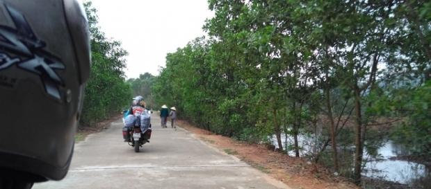 A vila de pescadores e os chapéus tradicionais vietnamitas