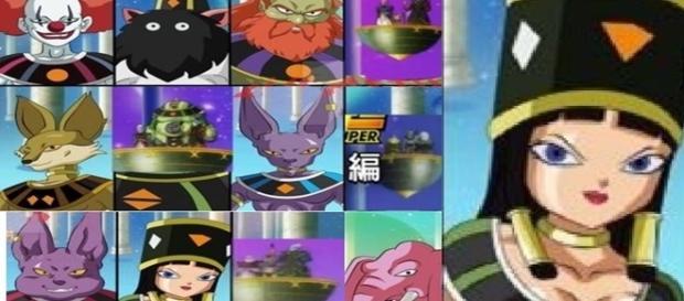 Dragon Ball Super Los 12 dioses de la destrucción, el dios payaso y la diosa cleopatra