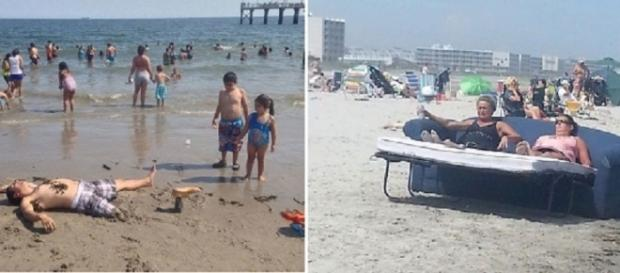 Este homem colocou uma perna falsa para assustar os banhistas.