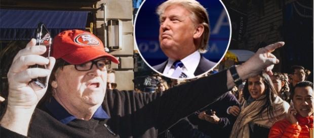 Michael Moore în timpul unui protest împotriva lui Donald Trump din orașul New York - Foto: colaj Creative Commons
