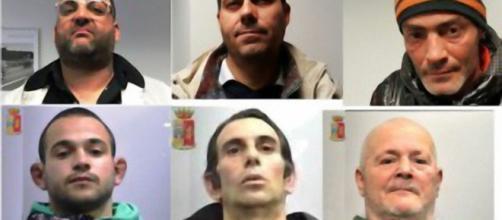 I sei arresti effettuati dalla Polizia.