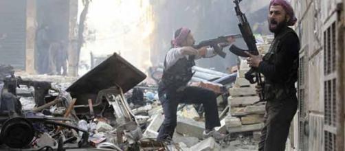 Un momento della guerra durante la presa di Aleppo