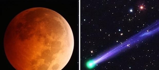 Eclipse lunar e passagem de cometa próximo à Terra