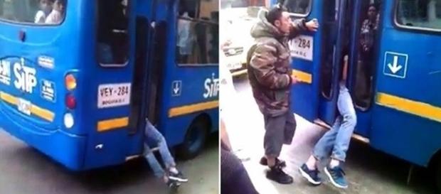 Motorista impede fuga de ladrão que roubava passageiros.