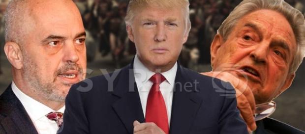 A sinistra il premier albanese Edi Rama, al centro Trump e a destra George Soros