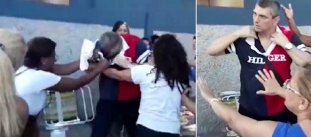 Na imagem é possível ver o momento em que duas mulheres que se manifestavam na entrada do Batalhão agarraram o oficial pela blusa.
