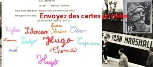 Envoyez des cartes postales aux élèves de cours élémentaires de l'école de Longeville, Grand' Rue, 70 000 Échenoz-la-Méline