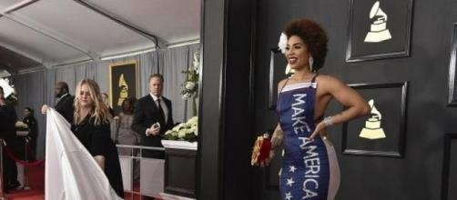 Joy Villa sparks outrage for her 2017 Grammy Awards dress (photo by Jordan Strauss, Invision/AP).