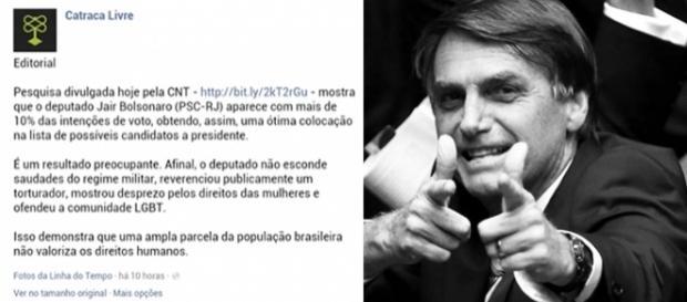 Mais de 3 mil comentários foram feitos na página do Catraca Livre em defesa de Bolsonaro.