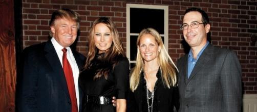 Steve Mnuchin e Donald Trump con le rispettive compagne
