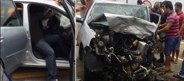 Na imagem é possível ver os danos causados no veículo durante a colisão frontal que aconteceu na BR-316.
