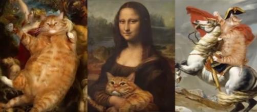 Artista recria obras de arte com seu gato. Reprodução: Youtube.