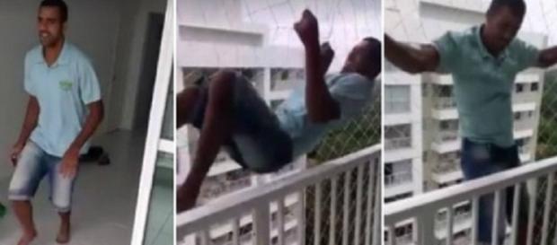 Homem se pendura em rede de proteção e vídeo viraliza na internet