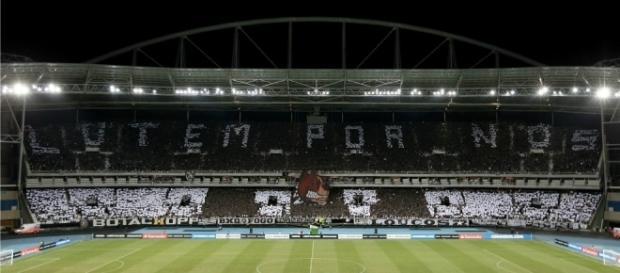 Torcida do Botafogo fez mosaico 3D no Nilton Santos