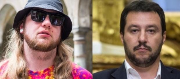 Nitro Wilson a sinistra, Matteo Salvini a destra.