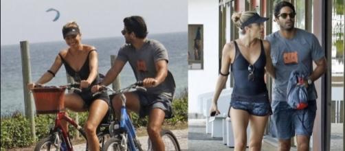 Grazi e Patrick costumam praticar atividades físicas juntos na beira da praia