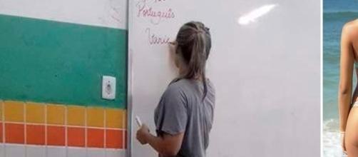 Professora bonita vira incentivo para aluno em sala de aula.