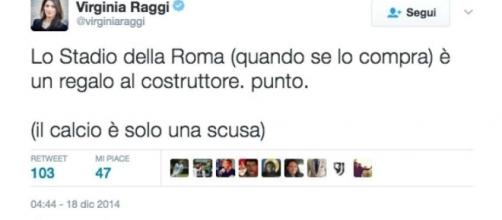 Virginia Raggi criticava il progetto di uno Stadio a Roma già nel 2014