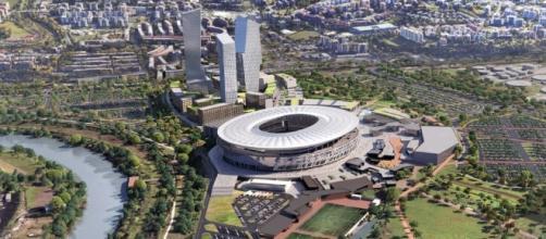 Il nuovo stadio della Roma e gli impianti adiacenti secondo il progetto della società giallorossa