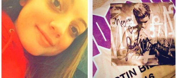 Fã de Justin Bieber, Megan Evans e seu presente autografado