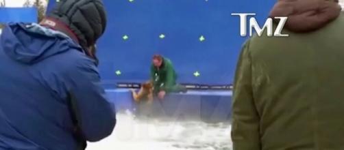 O vídeo mostra o cão com medo e sendo forçado a entrar em um tanque que simula uma correnteza. Fonte: Reprodução TMZ/G1