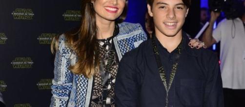Patrícia Poeta com o filho Felipe, hoje com 14 anos