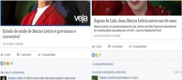 Médicos ironizam morte de Marisa (foto: reprodução Facebook)