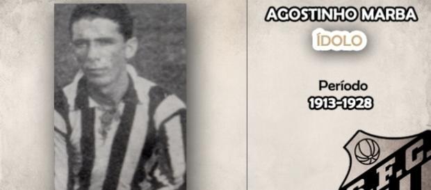 Agostinho Marba, um dos ídolos da história do Santos