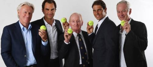 A promitional photo from the Laver Cup launch event. New Tournament in 2017: Laver Cup | Talk Tennis - tennis-warehouse.com (Taken from BN library)